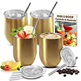 LOADEDSPOON stainless steel wine tumbler set stemless with...