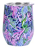 Lilly Pulitzer 12 Ounce Insulated Stemless Wine Tumbler with...