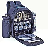 Flexzion Picnic Backpack Kit - Camping Bag Set for 4 Person...