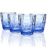 Topsky 10-ounce Plastic Water Tumblers | Set of 4 Blue...