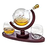 Whiskey Decanter Globe Set with 2 Etched Globe Whisky...