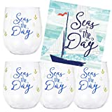 Nautical Theme Party Supplies - Anchor Stemless Plastic Wine...