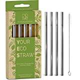Stainless Steel Reusable Drinking Straws 6' Short & Safer...