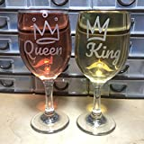 G255 King Queen Wine Glass set 11 oz for couples, Parents,...