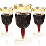 BUCLA 36Pack Gold Plastic Wine Glasses-7oz Gold Glitter with...
