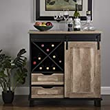 Glitzhome Wood Rustic Wine Cabinet 2-Sections Bar Cabinet...