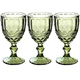 Wine Glasses Set of 3 Colored Water Goblets 10 OZ Wedding...