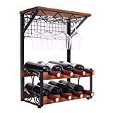 X-cosrack 2 Tier Solid Wood Wine Rack, Hold 8 Wine Bottles...