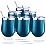 6 Pack Stemless Wine Tumbler, Blingco Insulated 12 Oz...