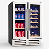 MOOSOO 24 Inch Beverage and Wine Cooler, Dual Zone Wine...