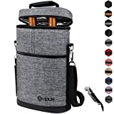 OPUX 2 Bottle Wine Tote Carrier | Insulated Wine Cooler Bag...