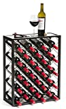 Mango Steam 32 Bottle Wine Rack with Glass Table Top, Black