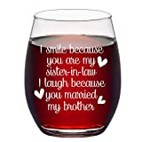 Sister in Law Gifts, Stemless Wine Glass for Sister in Law...