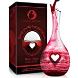 Finest Amore Wine Decanter - 1200ml Heart Shaped Carafe -...