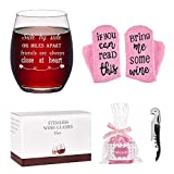 Friend Wine Glass with Cupcake Wine Socks Gift Set, Side By...
