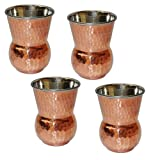 Glass Set of 4 Copper and Stainless Steel Drinkware...