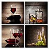 Wieco Art Red Wine Cups HD Modern 4 Pieces Stretched and...