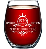 1970 50th Birthday Gifts for Women and Men Wine Glass -...