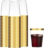 100 Gold Plastic Cups 16 Oz Clear Plastic Cups Tumblers Gold...