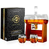 Glass Whiskey Decanter with Glasses -1100ml Barrel Whiskey...