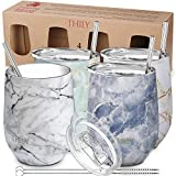 Stainless Steel Stemless Wine Tumbler - THILY 4 Pack Vacuum...