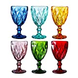 Colored Glass Drinkware 9.5 Ounce Water Glasses Multi Color...