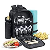 One Savvy Girl Picnic Backpack for 4 with Premium Stainless...