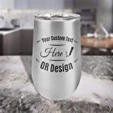 Center Gifts Stainless Steel Wine Glasses, Personalized...