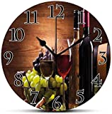 Dadidyc Wine Silent Wall Clock Glasses of Red and White Wine...