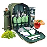 Bringalong green1 Picnic Backpack for 4 Persons with Cooler...