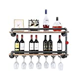 Industrial Wine Racks Wall Mounted with 7 Stem Glass...