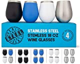 Stainless Steel Wine Glasses: Large 18 Oz 4 Pack, Stemless...