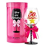 50 and Fabulous Birthday Wine Glass for Women | Fun Gift for...