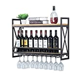 Industrial Wine Racks Wall Mounted with 8 Stem Glass...