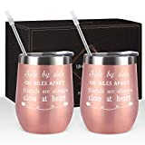Friends Wine Tumbler Set of 2, Side By Side or Miles Apart...