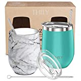 Stainless Steel Stemless Wine Glasses - THILY 12 oz Vacuum...