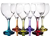 Orion Multi Colored Party Stemmed Wine Glasses, 12 oz, Set...