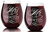 Set of Two Custom MR and MRS with Last Name Date Stemless...