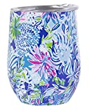 Lilly Pulitzer Stainless Steel Wine Glass Tumbler with Lid,...