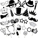 24 Pieces Party Photo Booth Props Mix of Hats, Wine Glass,...