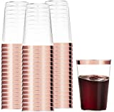 100 Rose Gold Plastic Cups 12 Oz Clear Plastic Cups Tumblers...