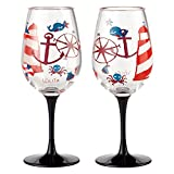 Enesco Designs by Lolita Maritime Acrylic Wine Glasses, Set...