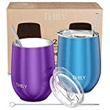 Stainless Steel Stemless Wine Tumbler - THILY 12 oz Vacuum...