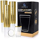 ConnectedPlus 12 oz Gold Rimmed Plastic Cups: 100 Elegant...