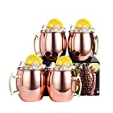 YeCheer Moscow Mule Copper Mugs Set of 4 with Brass Handle...