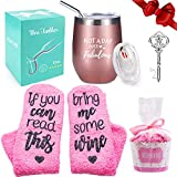 Wine Tumbler with Saying + Cupcake Wine Socks Gift Set | 12...