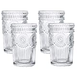 Kingrol 4 Pack 12.5 oz Romantic Water Glasses, Premium...