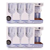 Party Bargains 8 Crystal-Like Wine Glasses - Disposable...