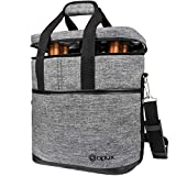 Premium Insulated 6 Bottle Wine Carrier Tote Bag | Wine...