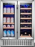AAOBOSI 24 Inch Beverage and Wine Cooler Dual Zone 2-IN-1...